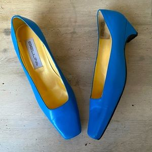French Blue square toe low heel classic pump shoes